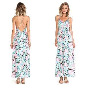 YUMI KIM floral peony silk maxi dress open back XS